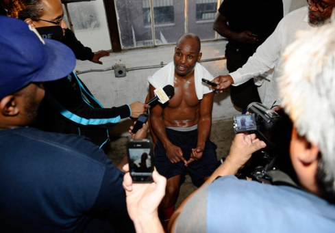Hopkins after media workout. Credit: Gene Blevins – Hoganphotos/Golden Boy Promotions